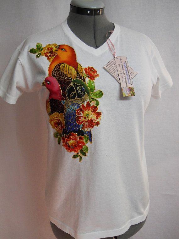 Women 39 S Tee Shirt Custom Hand Painted Exotic Birds Hand