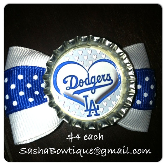 MLB Los Angeles Dodgers Girls Hair Bow Baby by SashaBowtique, $4.00