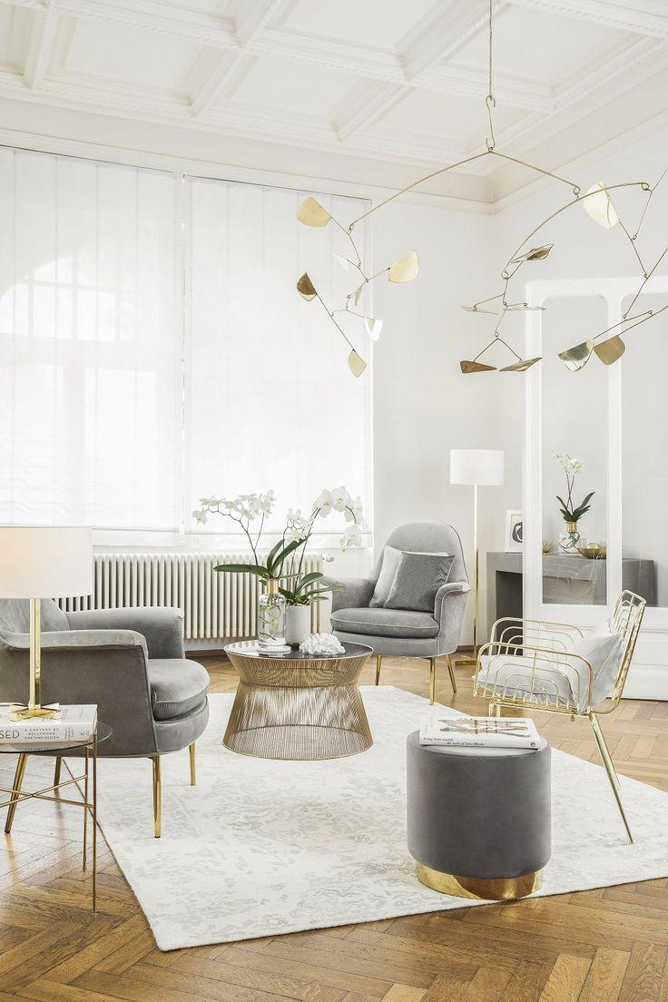 Wohnzimmer Grau Weiß Gold