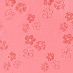 Stretch-Jersey, Pink mit Glitzerblumen