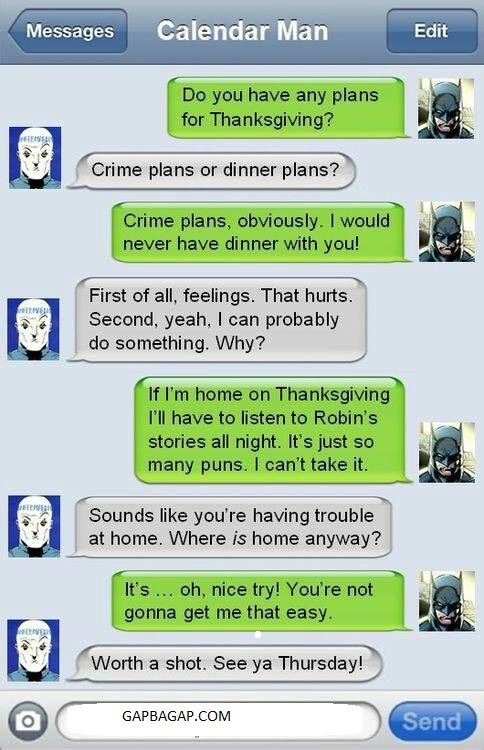 Hilarious Text Message About Crime vs. Dinner