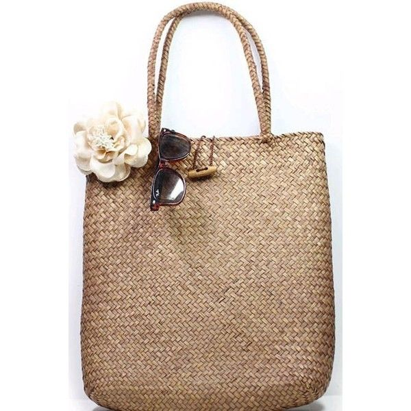 LUCLUC Brown Weaving Straw Tote Bag (29 CAD) ❤ liked on Polyvore featuring bags, handbags, lucluc, purses, beige tote, brown tote, straw tote bag, brown purse and brown tote bag