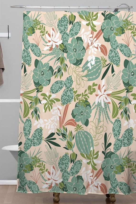Boho Shower Curtain Cactus Bathroom Shower Bathroom