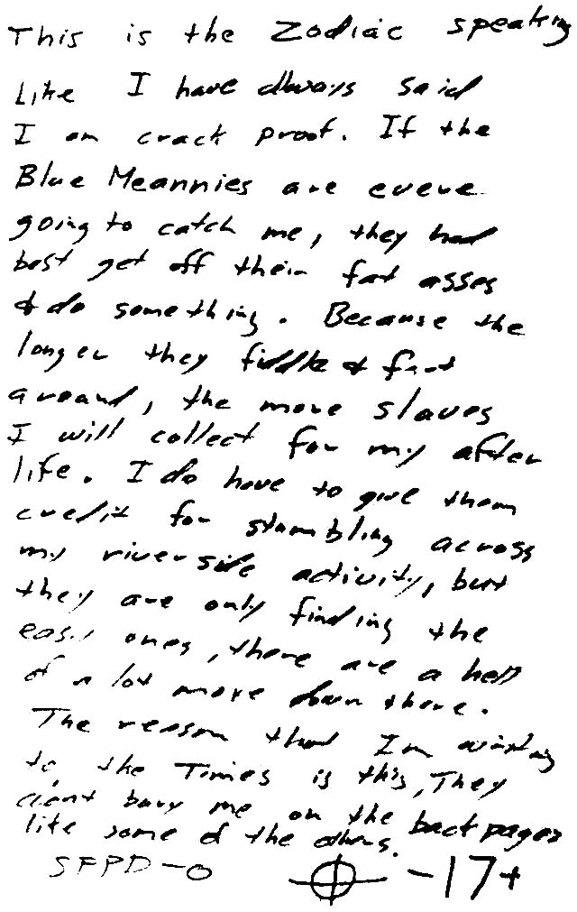 Zodiac Killer handwriting