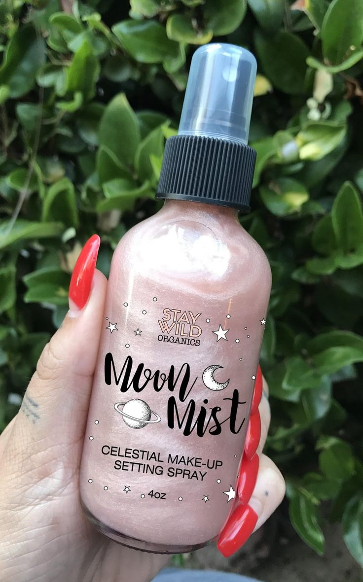 """Our """"Moon Mist"""" Celestial Makeup Setting Spray gives you an other-worldly glow. Our orange blossom infused mist refreshes and sets makeup while adding shimmer t"""