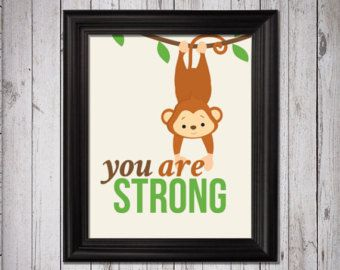You Are Strong Art Print, Jungle Animal Art Print, Baby Nursery Print, Baby