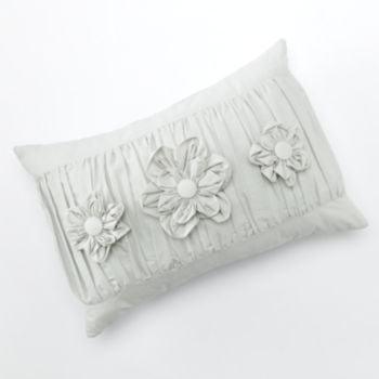 LC Lauren Conrad Ruched Triple Flower Decorative Pillow in Gray