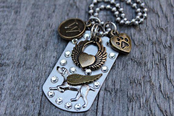 Weimaraner Angel Dog Tag Necklace, Weimaraner Memorial Keepsake, Weimaraner Jewelry