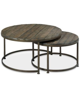 Link Wood Set of 2 Round Nesting Coffee Tables | macys.com