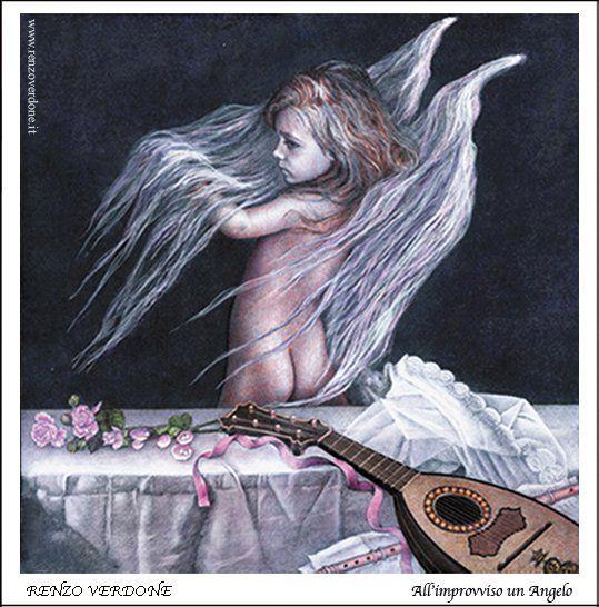 """Dipinto  olio su tavola di Renzo Verdone dal titolo """"Un angelo all'improvviso"""""""