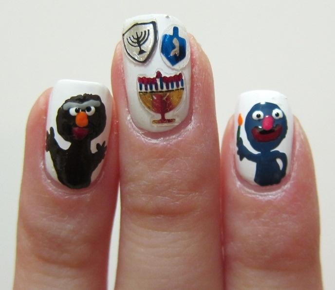 Grover & Moishe Oofnik Light the Hanukkiyah: Tags, Crazy Nails, Manicures, Nails Winter