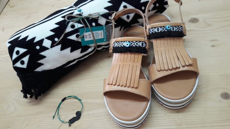 Handmade leather sandals & pestemal towel. Feel the love by Rena Xenou