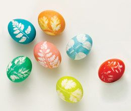 Leaf Print Eggs; so pretty and simple. Using flowers would probably work as well and yield good results.