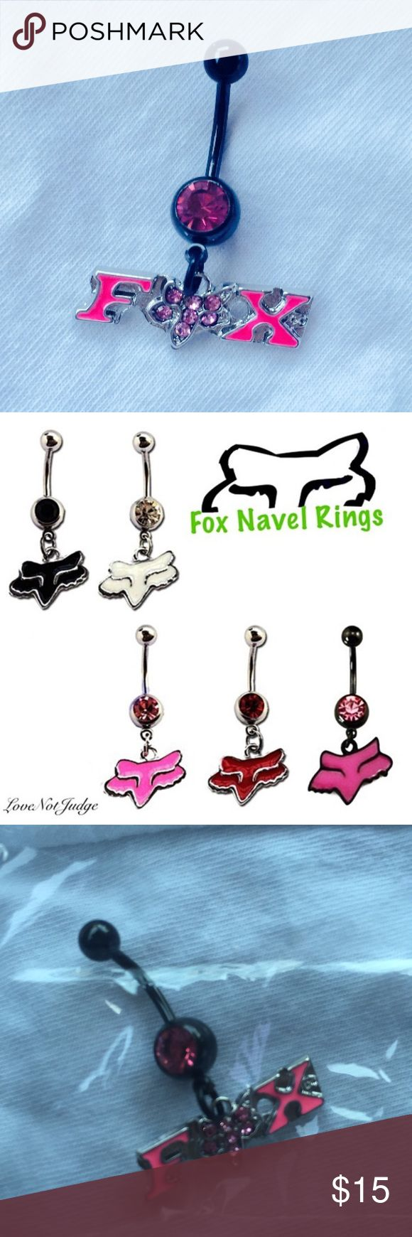 NEW! MORE COLORS AVAILABLE- FOX NAVEL BELLY  RING NWT FOX BELLY BUTTON LOGO RINGS ASSORTED COLOR & STYLES. let me know which color you want before buying. Also buy more than one and save a bunch! Ask if you have any questions- I also have all other body jewelry NWT- :) Fox Jewelry