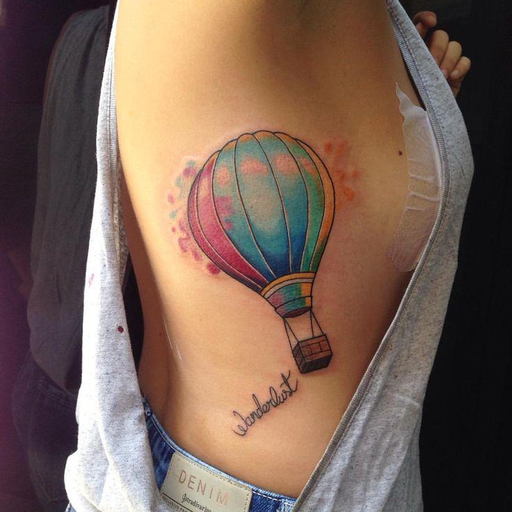 Image result for tatuaje globo aerostatico acuarela
