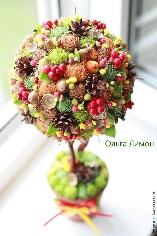 """Купить Топиарий """"Лес"""" - коричневый, лесная тема, топиарий, Дерево счастья, интерьерное дерево, натуральный"""