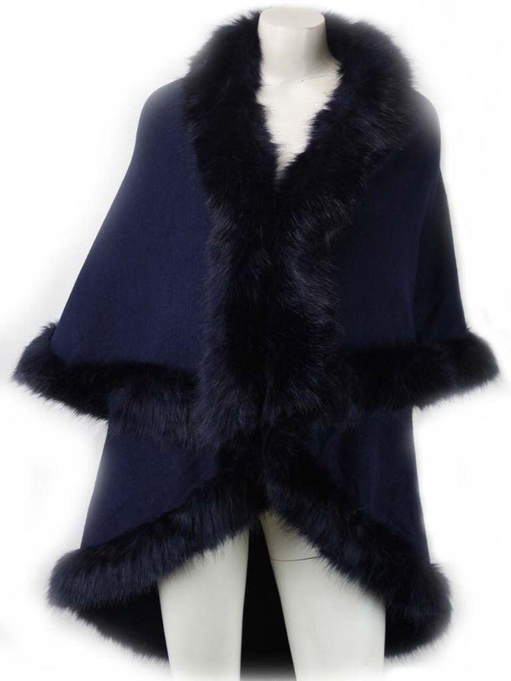 Nina Navy Fur Knit Cardigan