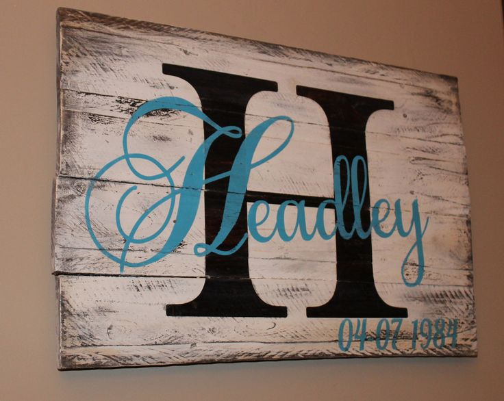 Initial with last name reclaimed pallet wood wall hanging. Email wallyswoodcrafts@gmail.com with personalization information.