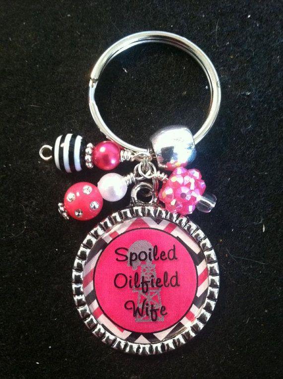 Spoiled Oilfield Wife Keychain Beaded Bezel Pendant by Blingalatte, $16.00