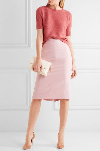 Pastel-pink stretch-wool Concealed hook and zip fastening at back 96% wool, 4% elastane; lining: 95% acetate, 5% elastane Machine wash Made in Italy