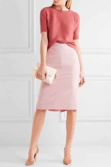 Pastel-pink stretch-wool Concealed hook and zip fastening at back 96% wool, 4% elastane; lining: 95% acetate, 5% elastane Machine wash Made in Italy