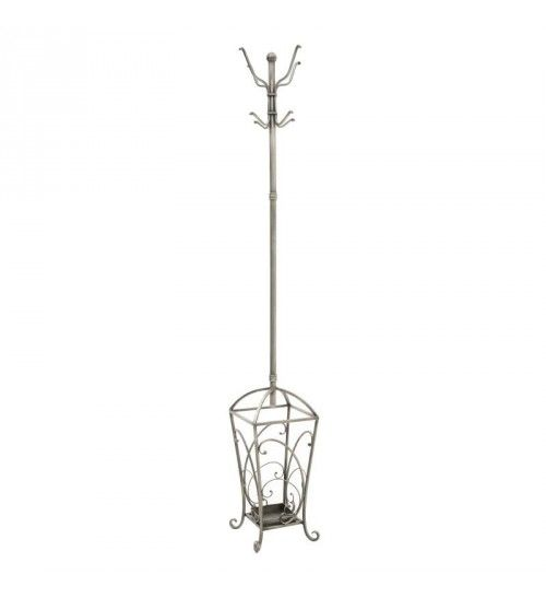 METALLIC COAT HOLDER W_UMBRELLA HOLDER IN ANTIQUE SILVER_BLACK 26X26X182