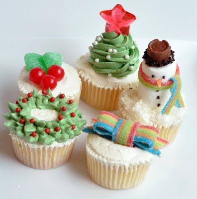 Christmas cupcakes: Snowman Cupcakes and Christmas tree Cupcake