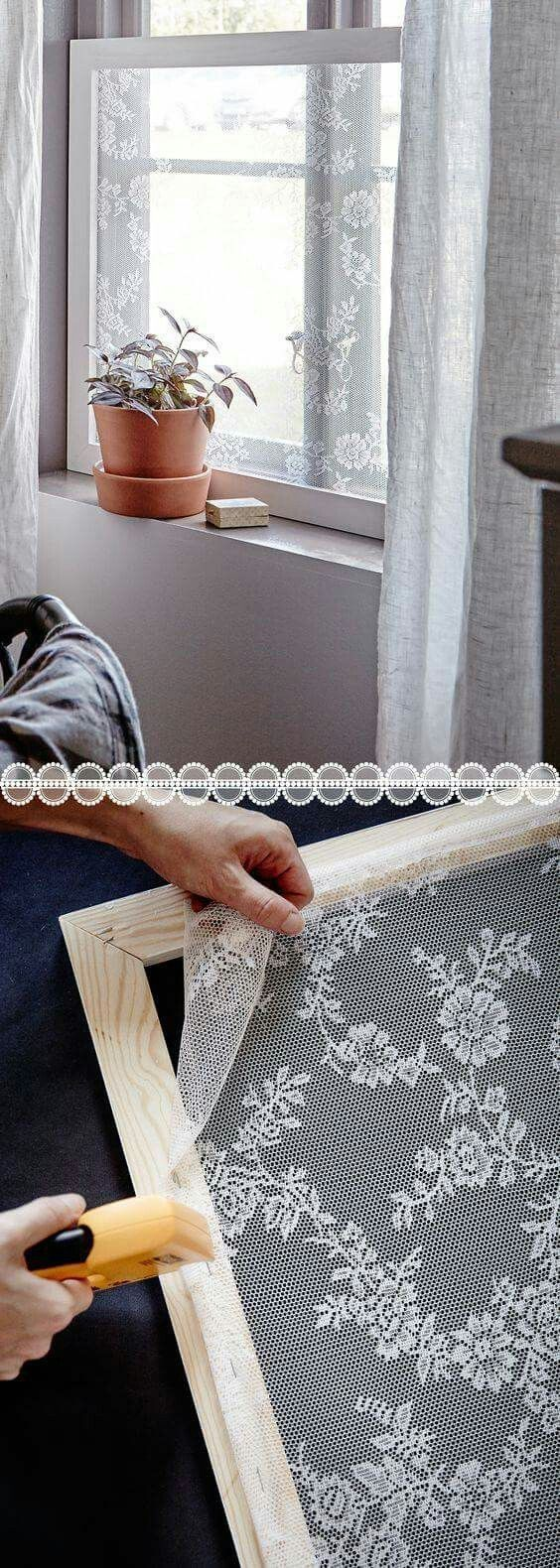 Window screens made from lace by Diana Drache