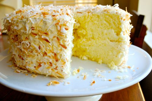Golden chiffon cake with toasted coconut & 7 min frosting - beautiful story along with it.