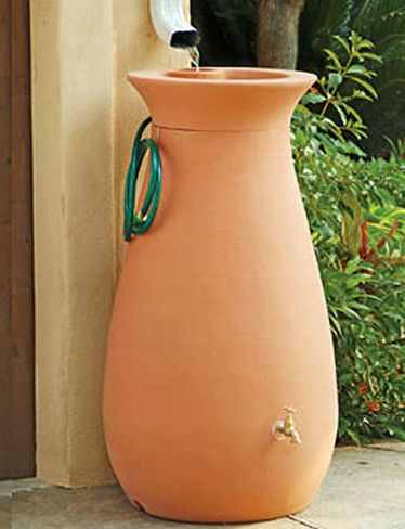This good looking rain barrel has  a quality spigot and 6-foot hose with shut-off valve. Removable top has a recessed basin for stowing watering accessories or displaying a potted plant.