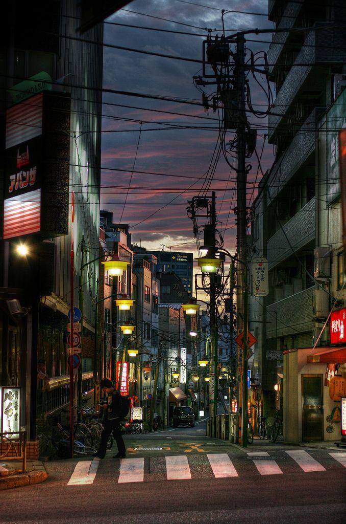 Tokyo street after sunset