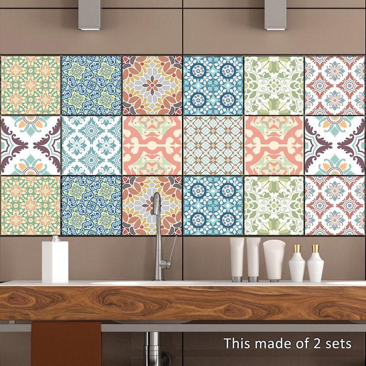 PegatinasdefloresdeCLORURODEPOLIVINILOCuarto de baño Sala de estar Impermeable Pegatinas de cocina