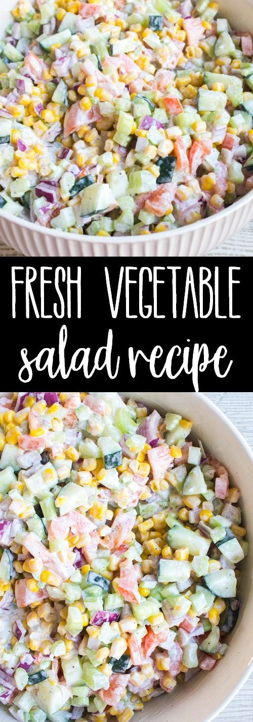 Fresh Vegetable Salad is a quick & easy recipe that's loaded with veggies and tossed in a creamy dressing making it the perfect side dish for potlucks! via @breadboozebacon