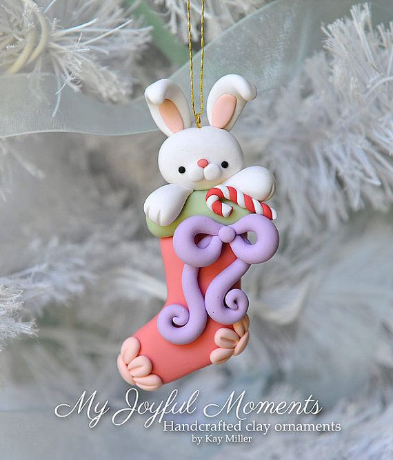 Handcrafted Polymer Clay bunny rabbit Christmas by MyJoyfulMoments