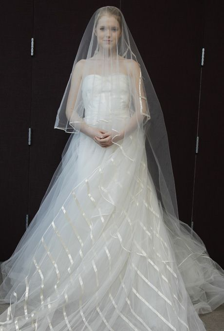 Brides.com: Pat Kerr - Spring 2013. Strapless organza ball gown wedding dress with a sweetheart neckline and satin stripes on the skirt  See more Pat Kerr wedding dresses in our gallery.