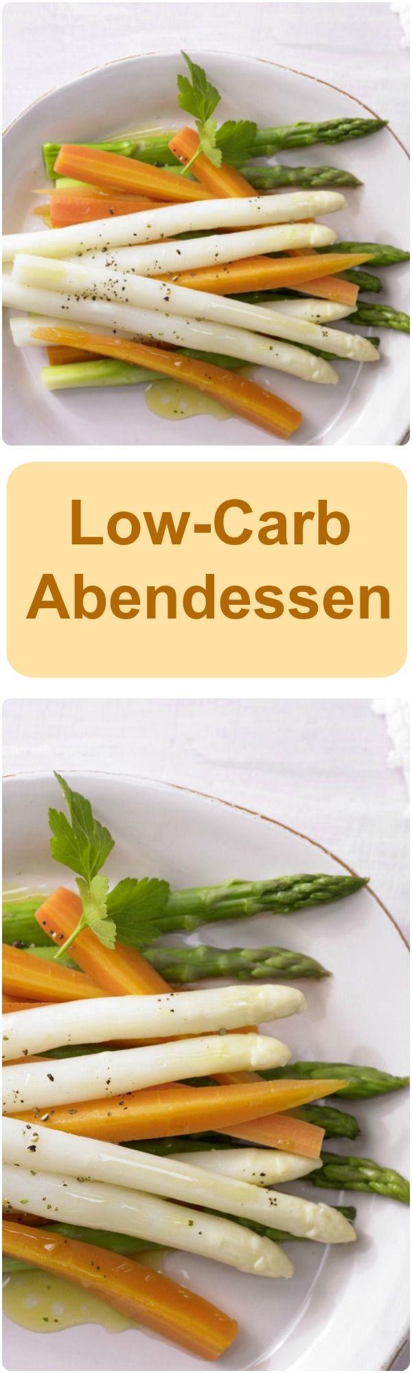 Low-Carb Abendessen - marinierter Spargel mit Möhren schmeckt fantastisch und hat kaum Kalorien.