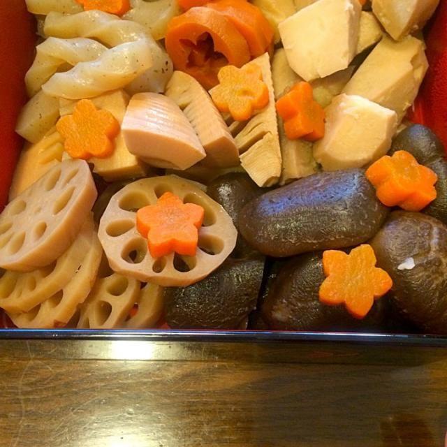 煮物(レンコン、たけのこ、里芋、にんじん、しいたけ、こんにゃく) - 39件のもぐもぐ - おせち さんのだん by みやこ