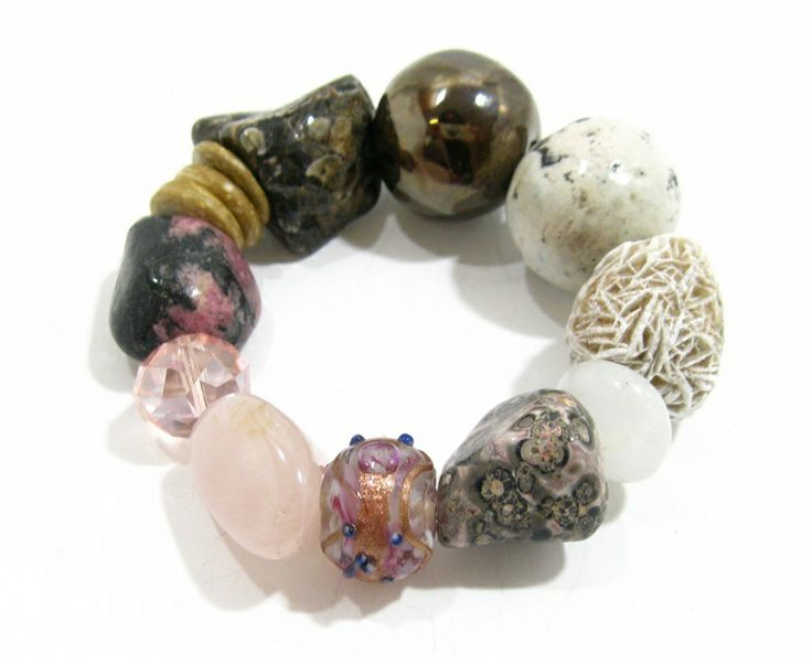 Handmade ceramic beads from SA with Rose quartz, agate, rhodonite and nambian desert rose