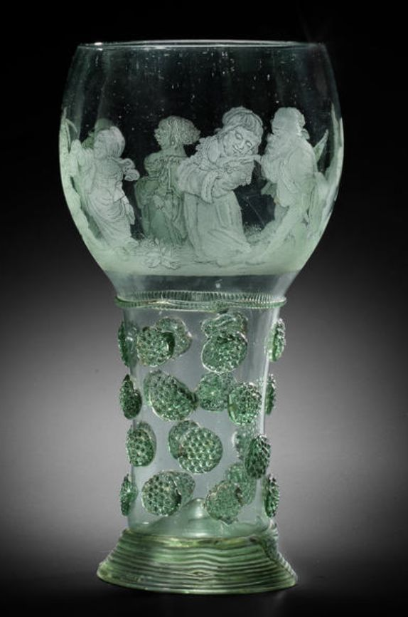 A rare Dutch diamond-point engraved green-tinted Roemer, second half 17th century
