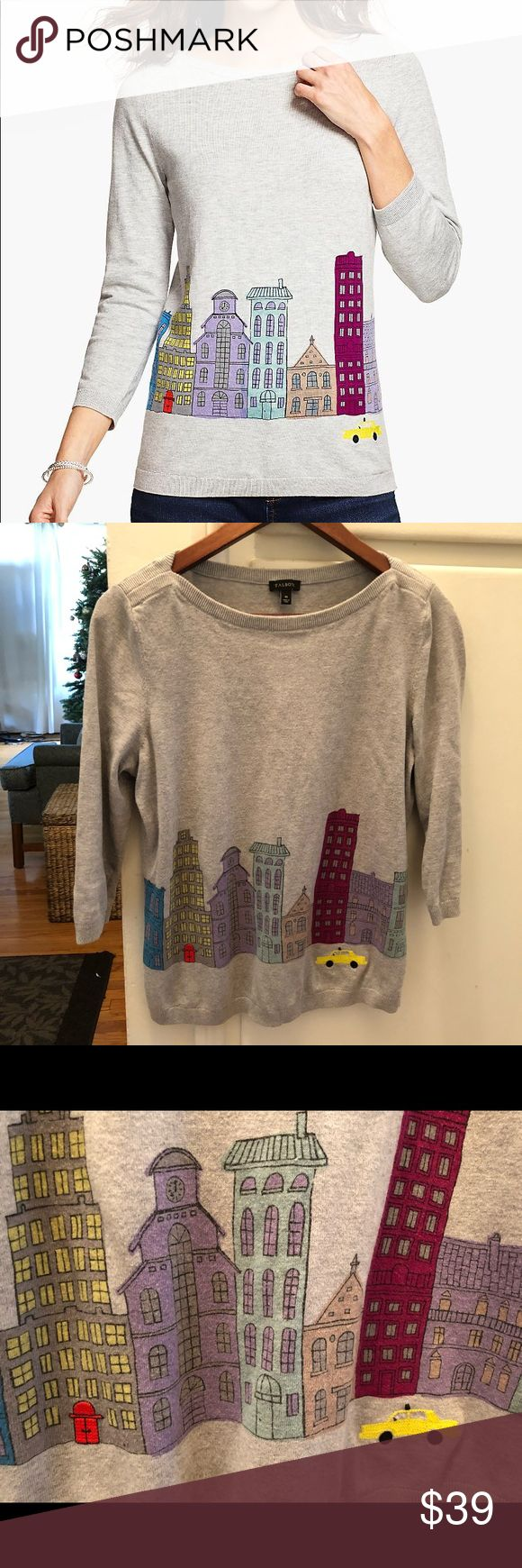 Talbots gray sweater- detailed stitching Beautiful crew neck gray sweater with a gray/plum cityscape and bright detailed stitching on the front (taxi cab and hotel door). Talbots Sweaters Crew & Scoop Necks