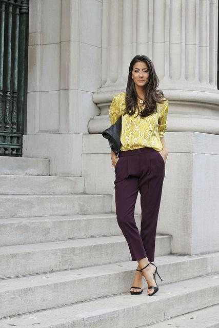 Plum & Puthon. Shirt: Joe Fresh, Pants: Aritzia, Shoes: Zara, Necklace: Sorrelli, Bracelets: LyraLoveStar, Melanie Auld, Alex & Ani, Clutch: Twelfth Street