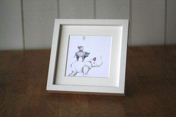 Card with elephant pig wild boar skunk and by AneIllustration