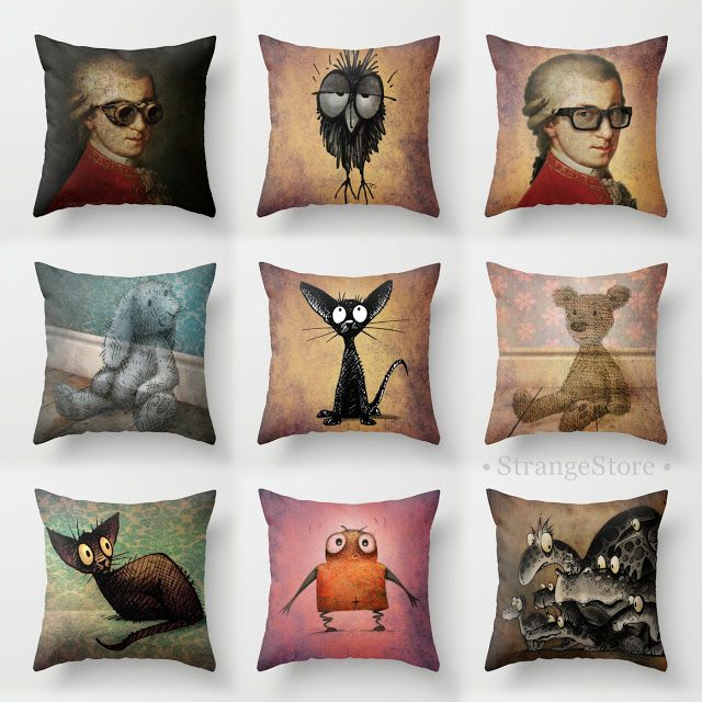 Paul Stickland #Strangestore pillows and cushions