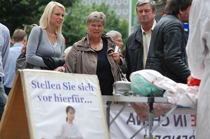Exposição na Alemanha conscientiza pessoas sobre extração de órgãos  | #Alemanha, #China, #ExtraçãoDeórgãos, #FalunGong, #Haburgo, #Minghui
