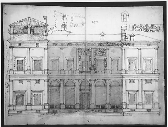 Villa Farnesina, north façade, with ornamental detailing (recto)  Drawn by Anonymous, French, 16th century  in Met. Museum NY