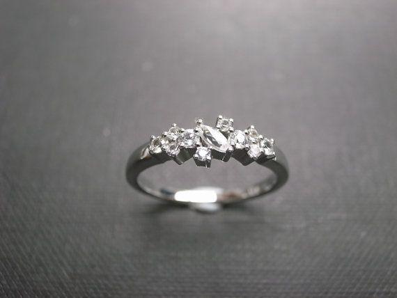 White Sapphire Wedding Ring in 14K White Gold by honngaijewelry, $680.00