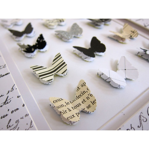 French Shabby Chic Black and White Paper Butterfly Collection Home... ($40) ❤ liked on Polyvore