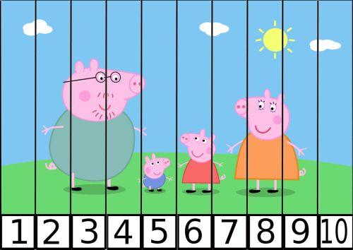 Recorta y pega puzzle gigante PEPPA PIG números del 1 al 10