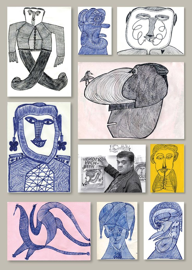 Arbeiten des Mannheimer Bäckers Ernst Kolb, der von 1927 bis 1993 gelebt hat.  (Hier zu sehen anlässlich einer Ausstellung in Mannheim, wo er auf seine in Plastiksäcke montierten Arbeiten hinweist)