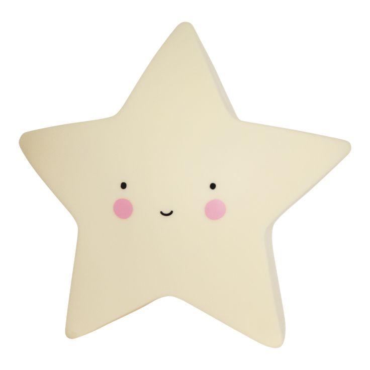 """Offrez-vous une décoration pleine de rêverieavec la veilleuse étoile jaunede la marque néerlandaiseA LITTLE LOVELY COMPANY. Son petit visage malicieux rassurera les petits pour des nuits plus douces. Pour l'allumer, il vous suffit d'activer le un bouton on/off sous la veilleuseet sa douce lumière se diffusera dans votre pièce.  La veilleuse nuagefonctionne avec 3 piles LR44 incluses et une LED.  [share title=""""Partager:"""" socials=""""facebook, twitter, google, pinterest"""" class="""""""" icon_..."""